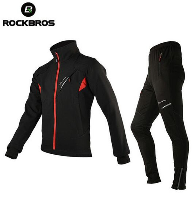 ROCKBROS Winter Thermal Fleece Cycling Clothing Cycling Jersey Sets Windproof Riding Bicycle Reflective Jacket Sportswear Pants water resistance 19 24w led constant current source power supply driver 90 265v