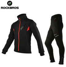 цена на ROCKBROS Winter Thermal Fleece Cycling Clothing Cycling Jersey Sets Windproof Riding Bicycle Reflective Jacket Sportswear Pants