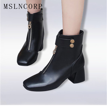 Plus Size 34-43 women shoes 2018 spring autumn woman boots ankle boots Soft Leather Women Zip European Style Black Martin Boots
