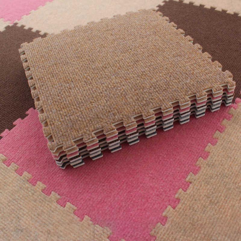 Meitoku yumuşak çizgili kadife oyun matı, EVA köpük bulmaca fayans interlok egzersiz kilim ve halı, her: 32x32cm kalın 0.6cm