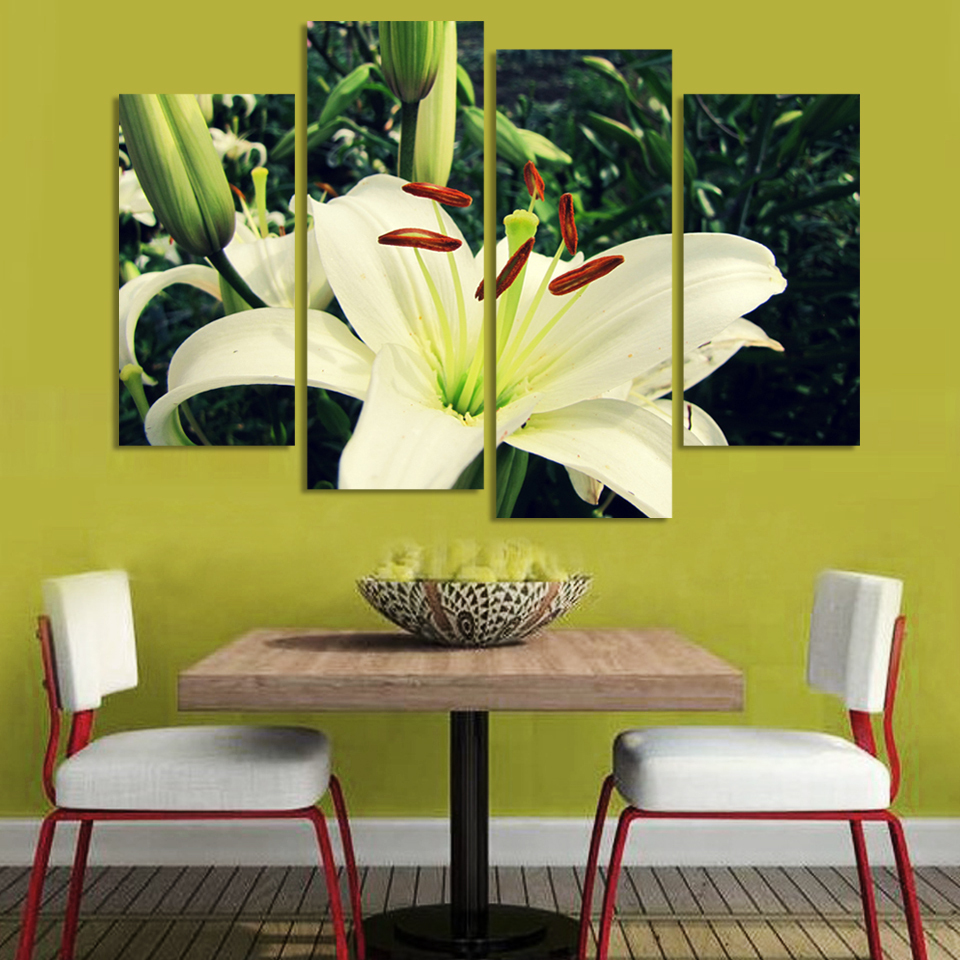 AtFipan 4 Panel Beautiful Flowers On Canvas For Kitchen/Living Room ...