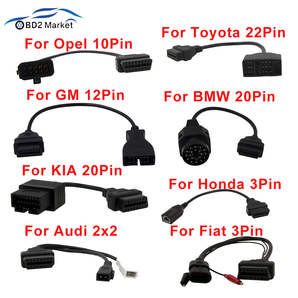 OBD OBD2 Diagnostic Cable For GM 12 Pin to 16 Pin OBD 2 Connector Adapter for BMW 20 Pin OBDII elm327 For Opel Opcom 10 Pin