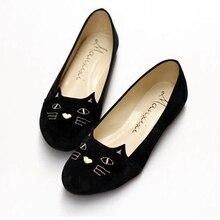 Женский, Черный кот Лоферы бархат Вышивка обувь ручной работы парусиновая обувь слипоны Туфли без каблуков рыбаков Лен Повседневное эспадрильи