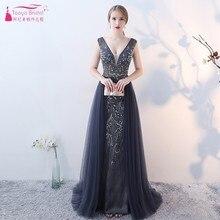 TANYA BRIDAL Luxurious Prom Dresses Long Gray Evening Dress