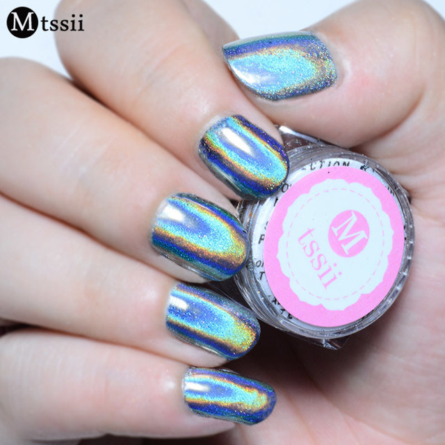 05g Box Holographic Laser Nail Glitters Holo Rainbow Art Powder Tip Chrome
