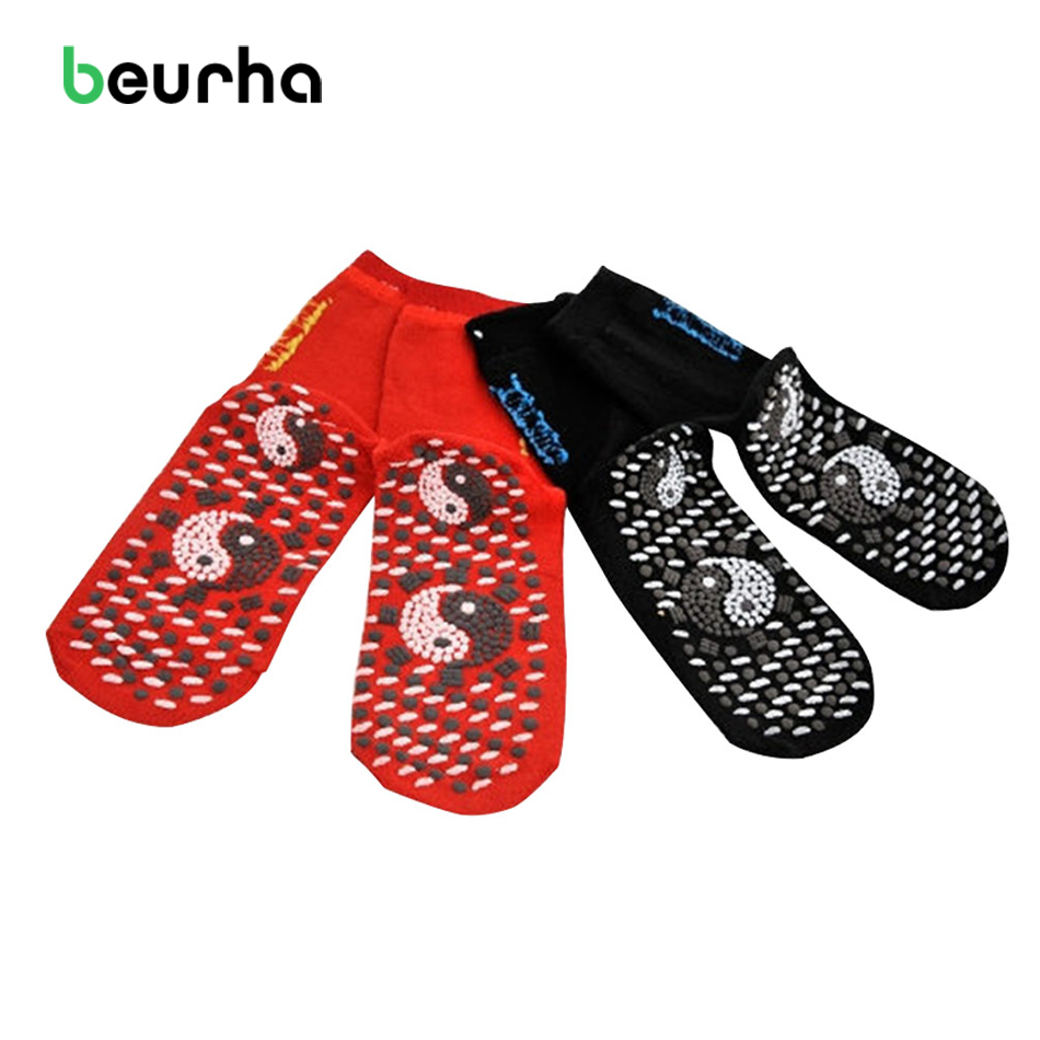 Beurha 1 Pair Tourmaline Magnetic Therapy Self-heating Coated Socks Foot Feet Massager Help Warm Cold Feet Comfortable Socks self heating magnetic therapy pain relief wrist band brace strap support black pair