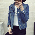 2017 autumn winter New arrival Hot selling women's fashion all-match Girls plus size Handsome denim Jacket Cheap wholesale