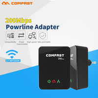 Hot 2pcs Pair Power Line Ethernet Adapter Extender 200Mbps COMFAST Mini Plc Homeplug Network Powerline Adapter