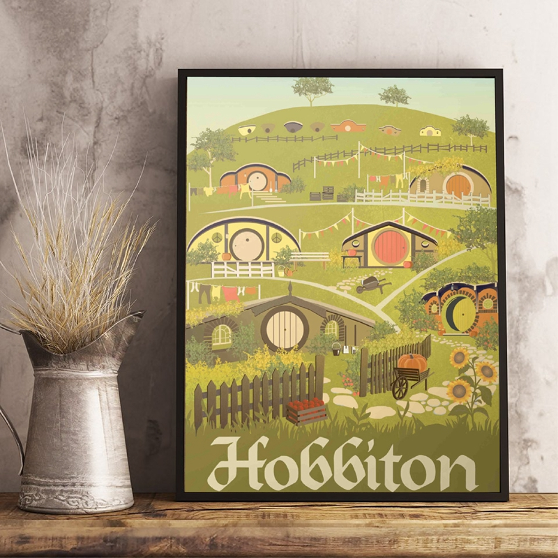 Lord of the Rings Travel Poster The Hobbit Wall Art Print Hobbiton The Shire Canvas Painting Poster Book Art Decor image