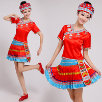 Traditional Ethnic Clothes Adult Women National Miao Hmong Dance Costume Chinese Folk Dance Clothes Halloween Cosplay Outfits