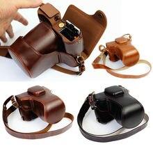 Luxo saco da câmera de couro do plutônio capa para fujifilm X T20 xt20 X T10 xt10 16 50mm 18 55mm lente com alça