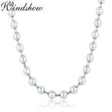 45 cm 90 cm 4mm czysta solidna 925 srebro okrągłe koraliki łańcuch długi naszyjnik kobiety mężczyźni biżuteria Collier Kolye Collares Ketting