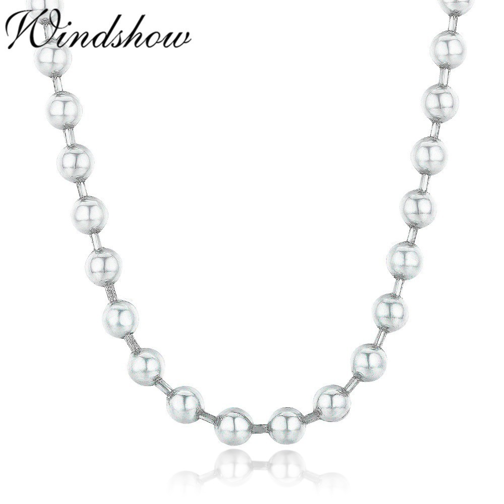 45cm 90cm 4mm Pure Solid 925 Sterling Silver Round Beads Chain 