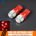 2pcs Car Auto LED T10 168 194 W5W 5 led smd 5050 Wedge LED Light Bulb Lamp 5SMD Red Car Interior light 12V