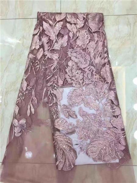Nowy zielony francuski nigerii siatka koronkowa z cekinami afryki oczka sekwencji koronki tkaniny wysokiej jakości do sukni ślubnej 5 metrów w Koronka od Dom i ogród na  Grupa 3