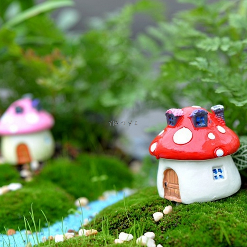 Garden Ornament Mushroom House Resin Figurine Craft Plant Pot Fairy Decoration|Decorative Stakes & Wind Spinners| |  - title=