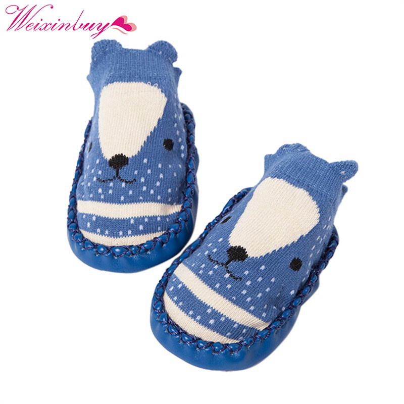 2017 New Baby Toddler Floor Sock Shoe Cartoon Fox Owl Socks With Rubber Sole Prewalker Soft-soled Shoes Socks Anti-slip