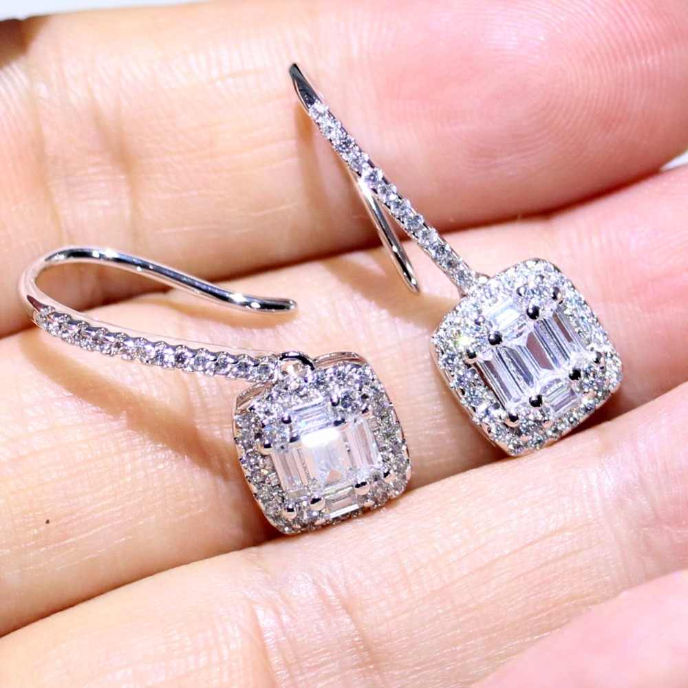 Classical High Quality T Square Earring Luxury Jewelry 925 Sterling Silver Princess Cut 5A CZ Women 1 Pair Ear Hook Earring Gift
