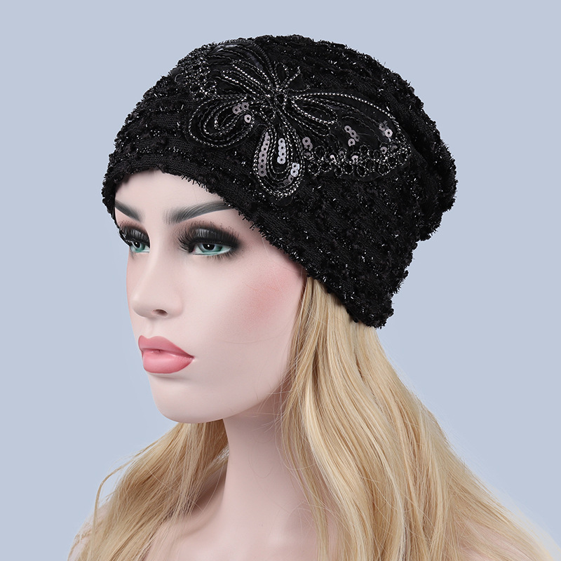 Foreign Trade Hats Woman Autumn And Winter Hollow Lace Cap. Double-deck Butterfly Confinement Hat Windbreak Set Head Cap Ebay