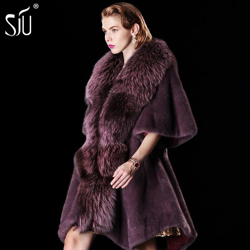 Sju marta veludo casaco de vison fêmea casaco de pele casaco de pele de médio-longo jaqueta feminina casacos de pele casacos de inverno grande gola de pele