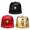 New Fashion Mens Hip Hop Golden Lion  Baseball Caps PU Leather Casual Unisex Outdoor Hats Gold/Black Snapback