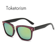 Toketorism New trendy square frame double bridge sunglasses for unisex high fashion design polarized mirror sun glasses 3068