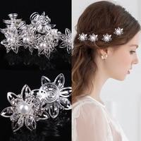 100 Pcs Silver Flower White Crystal Bridal Wedding Prom Hair Pins Hair Clip Twists Spins Hair Pins