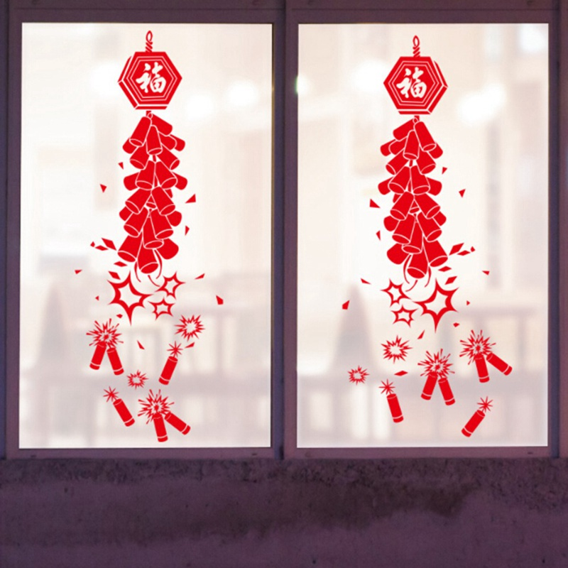 Festive Firecracker Happy New Year Sticker Home Decoration ...