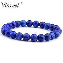 Alta qualidade natural pedra grânulos pulseiras para mulheres moda masculina lapis lazuli pulseiras energia elástica pulsera homme jóias
