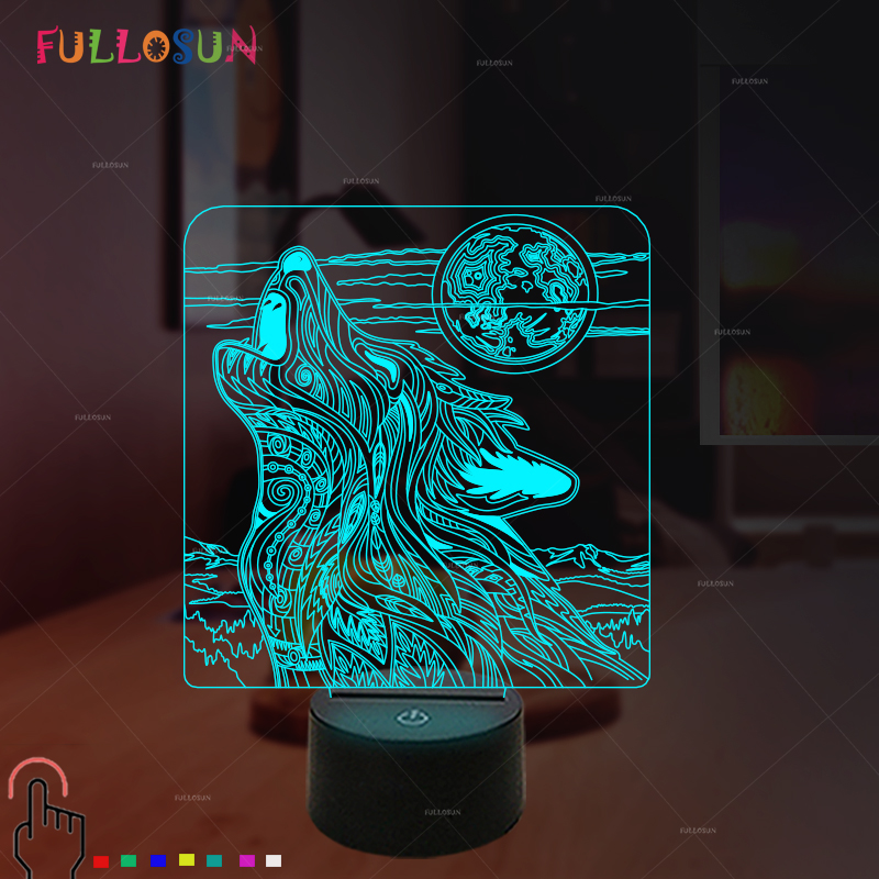 Creative Gift Wolf Howl 3D Illusion Lamp Colorful LED USB Table Atmosphere Decoration Lights