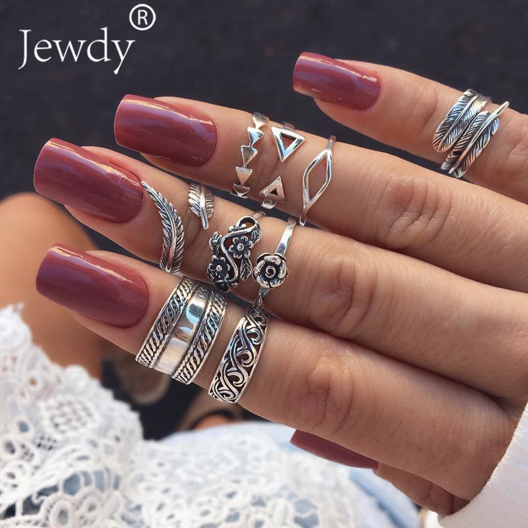 9PCS/Lot Boho Triangle Midi Finger Ring Set Vintage Punk Carved Knuckle Lotus Rings for Women Anillos Party Jewelry