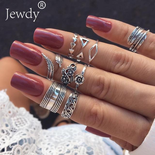 9PCS/Lot Boho Triangle Midi Finger Ring Set Vintage Punk Carved Knuckle Lotus Ri