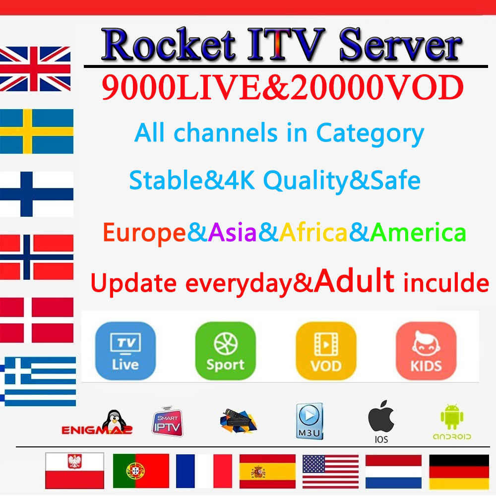 Rocket iptv subscription+x96 mini android tv box 9000 live+20000vod Best Sweden Dutch Poland USA France Spain Portugal iptv m3u