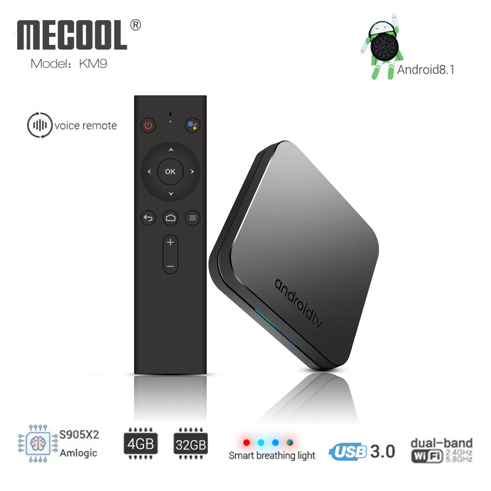 MECOOL KM9 ATV Android 8.1 Smart TV BOX Amlogic S905X2 Quad core 4G DDR4 32G EMMC ROM Set Top Box 4K 3D H.265 Wifi media player excelvan w95 tv box android 7 1 amlogic s905w quad core 2g ram 16g rom set top box 2 4g wifi hdmi2 0 3d h 265 4k media player