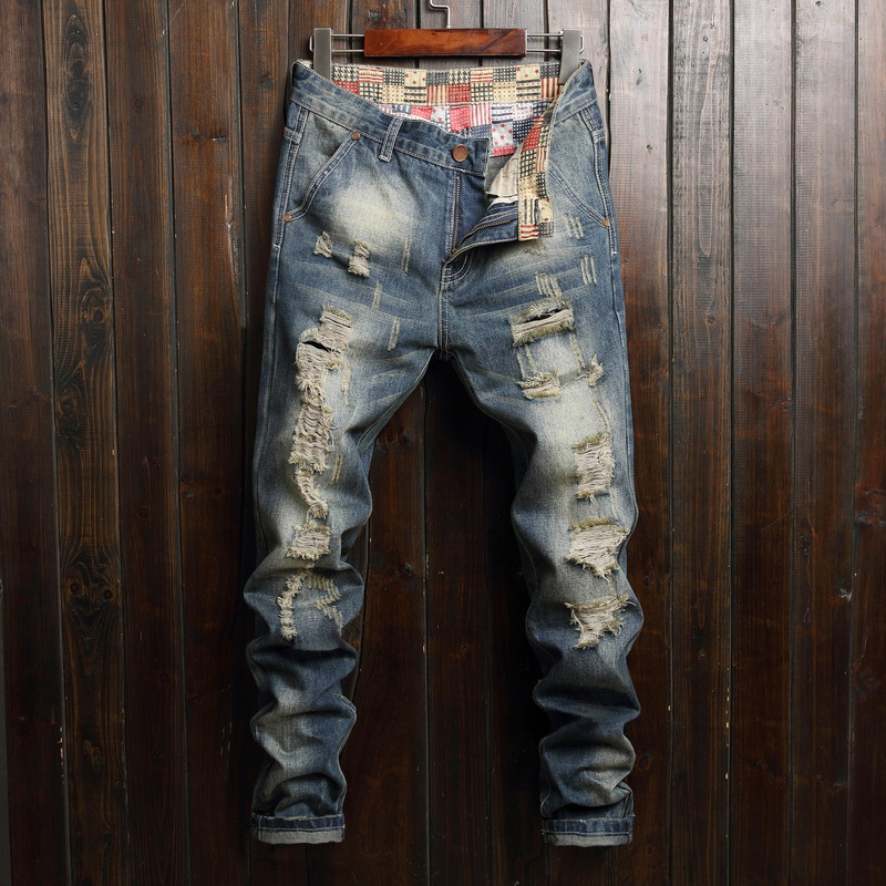 Plus Size 40 Vintage Washed Ripped Denim Jeans Male Slim Pencil Pants Distressed Men Jeans Long Trousers High Quality Cotton