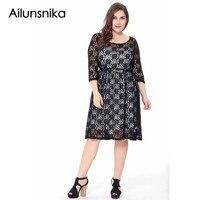 Ailunsnika New Elegant Women Party Dress Plu Size 6XL Lace Three Quarter Sleeve Knee Length Dresses