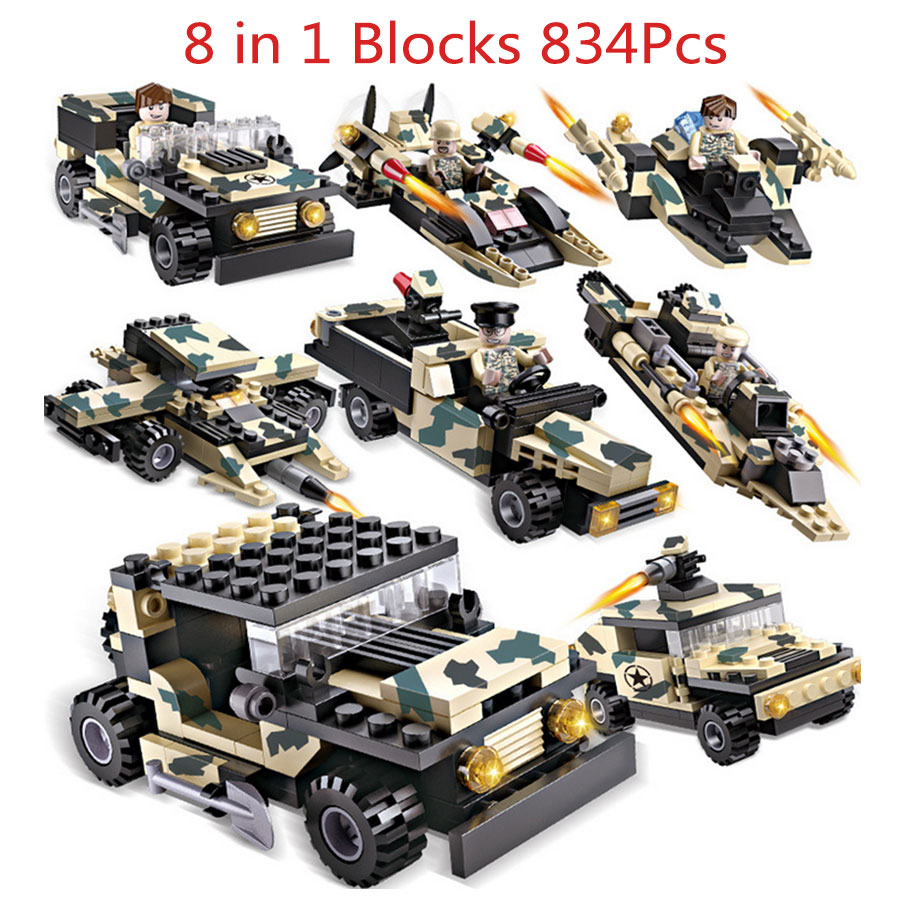 8 in 1 COGO 834pcs DIY Block Military Tank eductional Building Blocks Sets Army Tank Vehicle SUV Aircraft Children DIY Kids Toys детское лего cogo 3259 360 diy