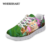WHEREISART Shoes Woman Animal Cat Pattern Sneakers 2019 New Spring Mesh Ladies Flats Breathable Girls Walking Zapatos de Mujer