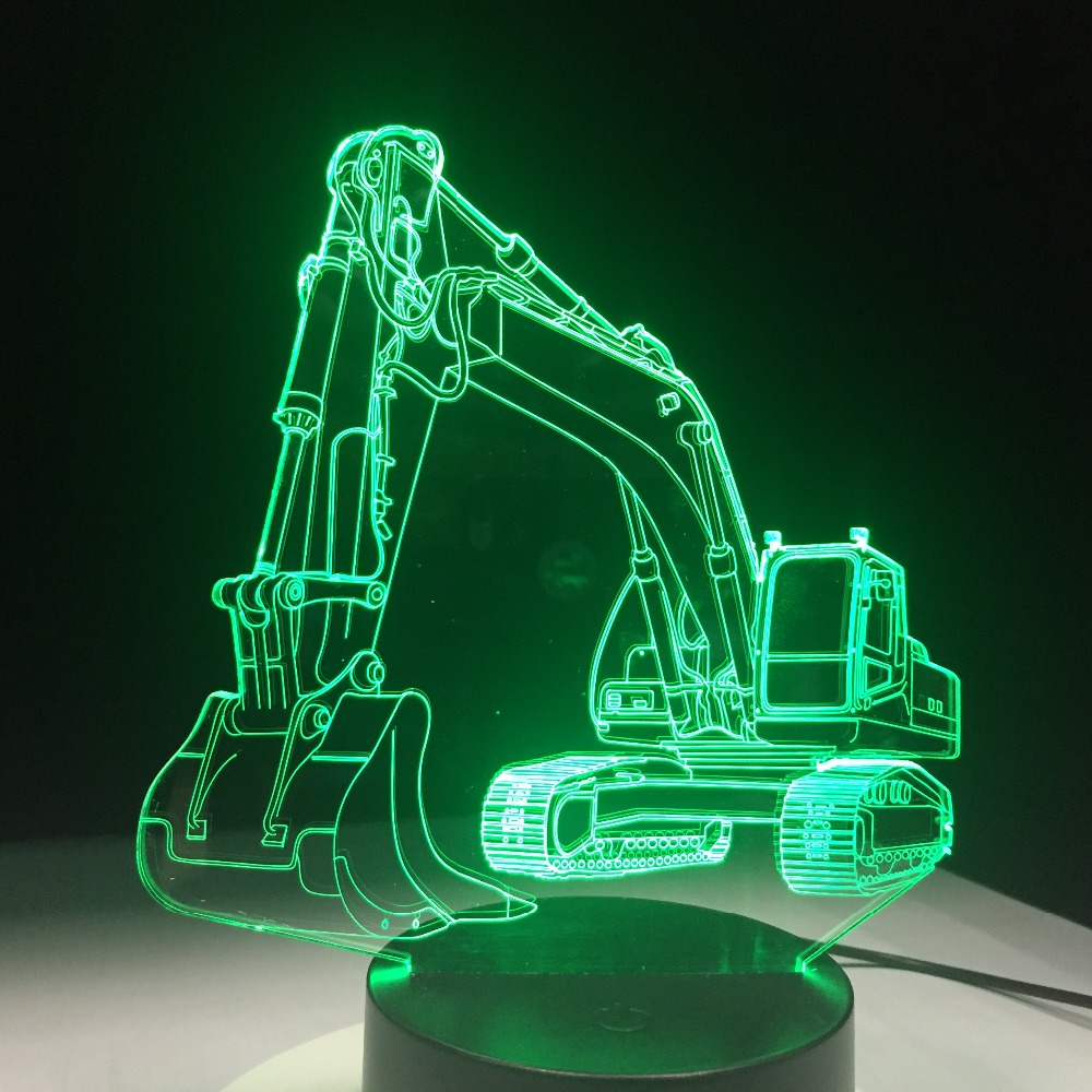 Excavator Car 7 Color Lamp 3D LED Night Lights For Kids Touch USB Table Lampara  Baby Sleeping Nightlight Remote Control Lampe