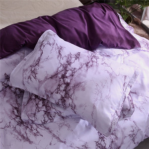 Image 5 - Juego de funda de edredón de mármol simple, funda de edredón doble tamaño King con funda de almohada, tela de microfibra de poliéster, edredón suave de lujo
