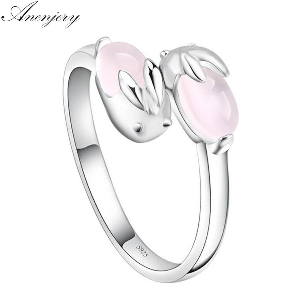 Женское Открытое кольцо ANENJERY, 925 пробы, серебряное кольцо, милый розовый хрустальный кролик, подарок на день Святого Валентина, S-R135