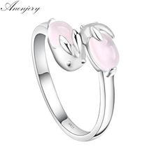 Anenjery 925 prata esterlina mais novo anel de abertura bonito anel de coelho de cristal rosa para mulher anel de presente do dia dos namorados S-R135