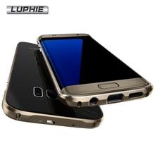 Для Samsung Galaxy S7 Крайний Случай Оригинал Luphie Роскошный Металлический Каркас + закаленное Стекло Задняя Крышка Аргументы За бампера Samsung Galaxy S7