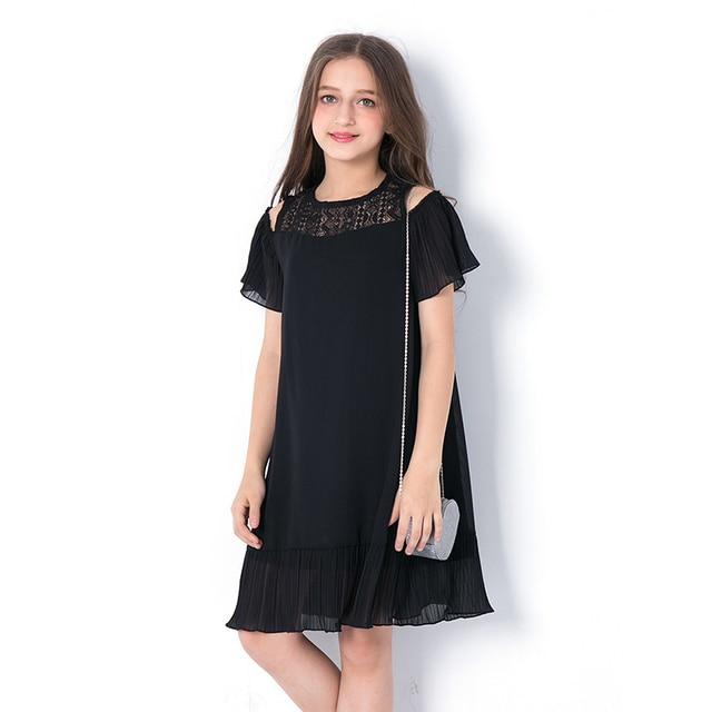 1f3e8986d1b8f US $25.2 44% OFF|2018 Summer Teen Girls Dress Children's Clothing Dresses  Children Black Princess Strapless Hollow Chiffon Vestidos for Teenagers-in  ...