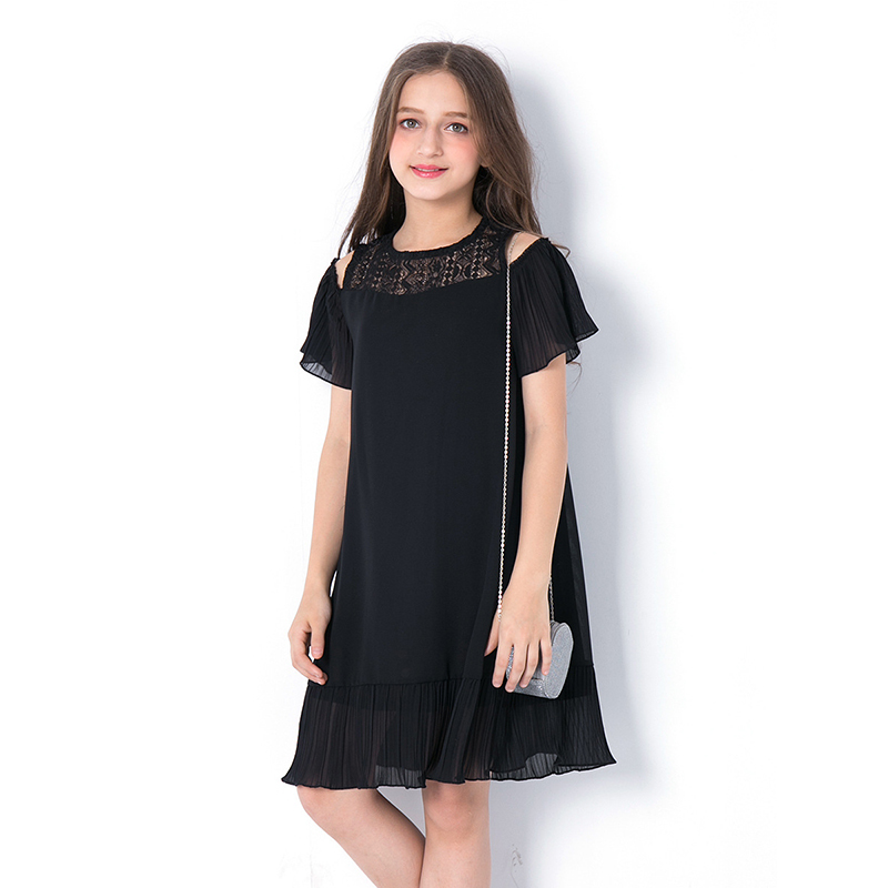 Summer Teen Girls Dress Childrens Clothing Dresses Children Black Princess Strapless Hollow Chiffon Vestidos for Teenagers