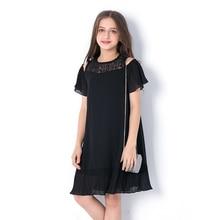 Summer Teen Girls Dress Children's Clothing Dresses Children Black Princess Strapless Hollow Chiffon Vestidos for Teenagers цена в Москве и Питере
