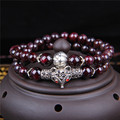 Promotion New Pure Natural Wine Red Garnet Beaded Bracelets For Women Micro Inlay Fox Pendant