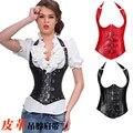 NEW rivet leather Hanging neck underbust Sexy lingerie Waist Workout Cincher Body Shaper Shapewear Corset S-XXL 0828 Women girl
