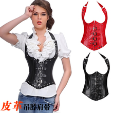 NEW rivet leather Hanging neck underbust Sexy lingerie Waist Workout Cincher Body Shaper Shapewear Corset S-XXL 0828 Women girl
