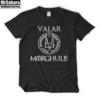 Game Of Thrones VALAR MORGHULIS Short Sleeve Tshirt Tee Cotton T Shirt Arya Stark Black Gray